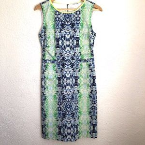 T Tahari Dresses - T Tahari Blue & Green Watercolor Sheath Dress